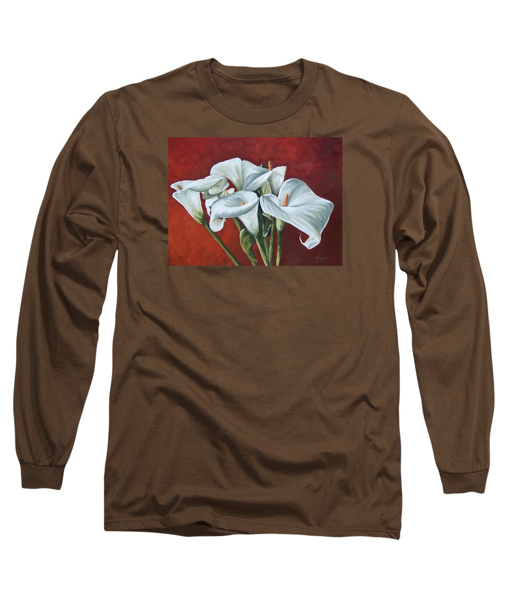 Calas Long Sleeve T-Shirt featuring the painting Calas by Natalia Tejera