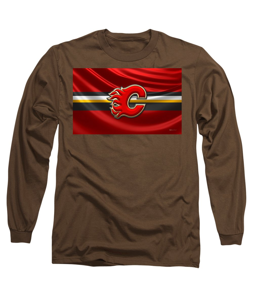 Hockey Hall Of Fame 3d By Serge Averbukh Long Sleeve T-Shirt featuring the photograph Calgary Flames - 3D Badge over Flag by Serge Averbukh