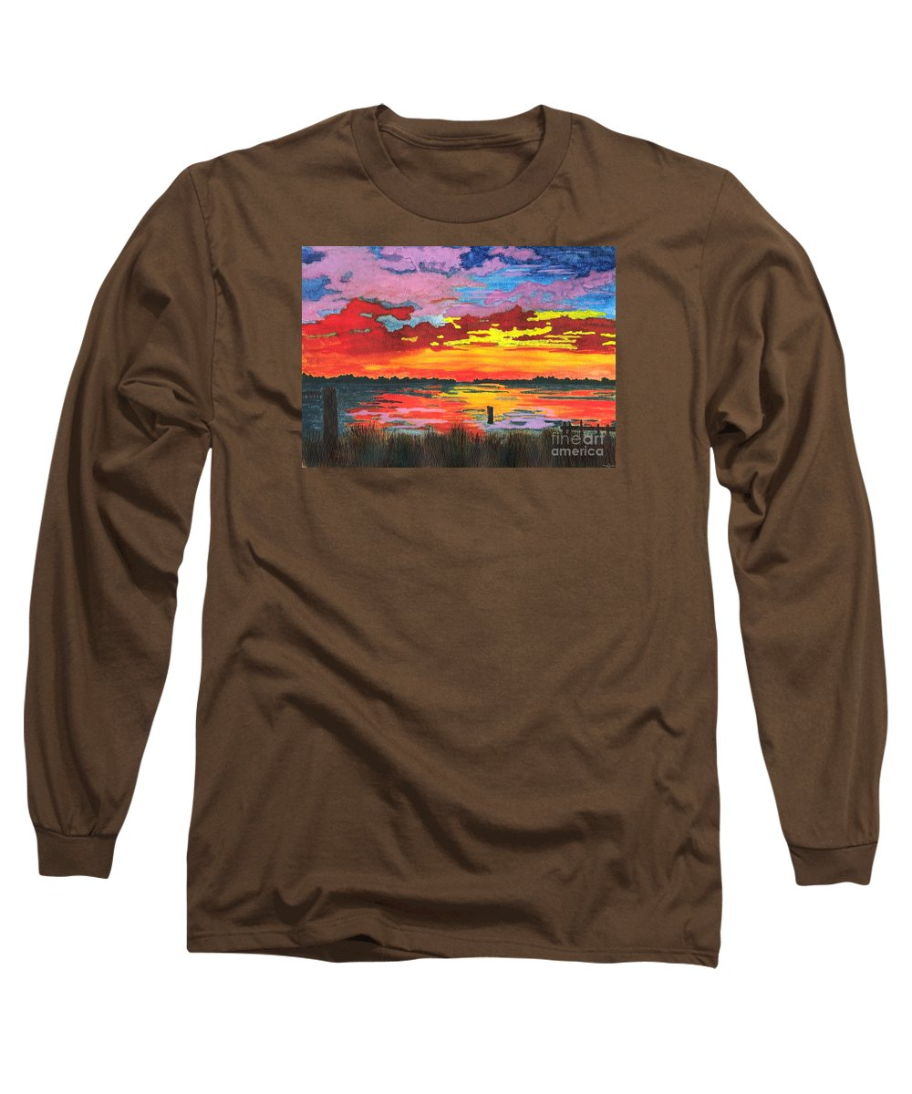 Original Painting Long Sleeve T-Shirt featuring the painting Carolina Sunset by Patricia Griffin Brett