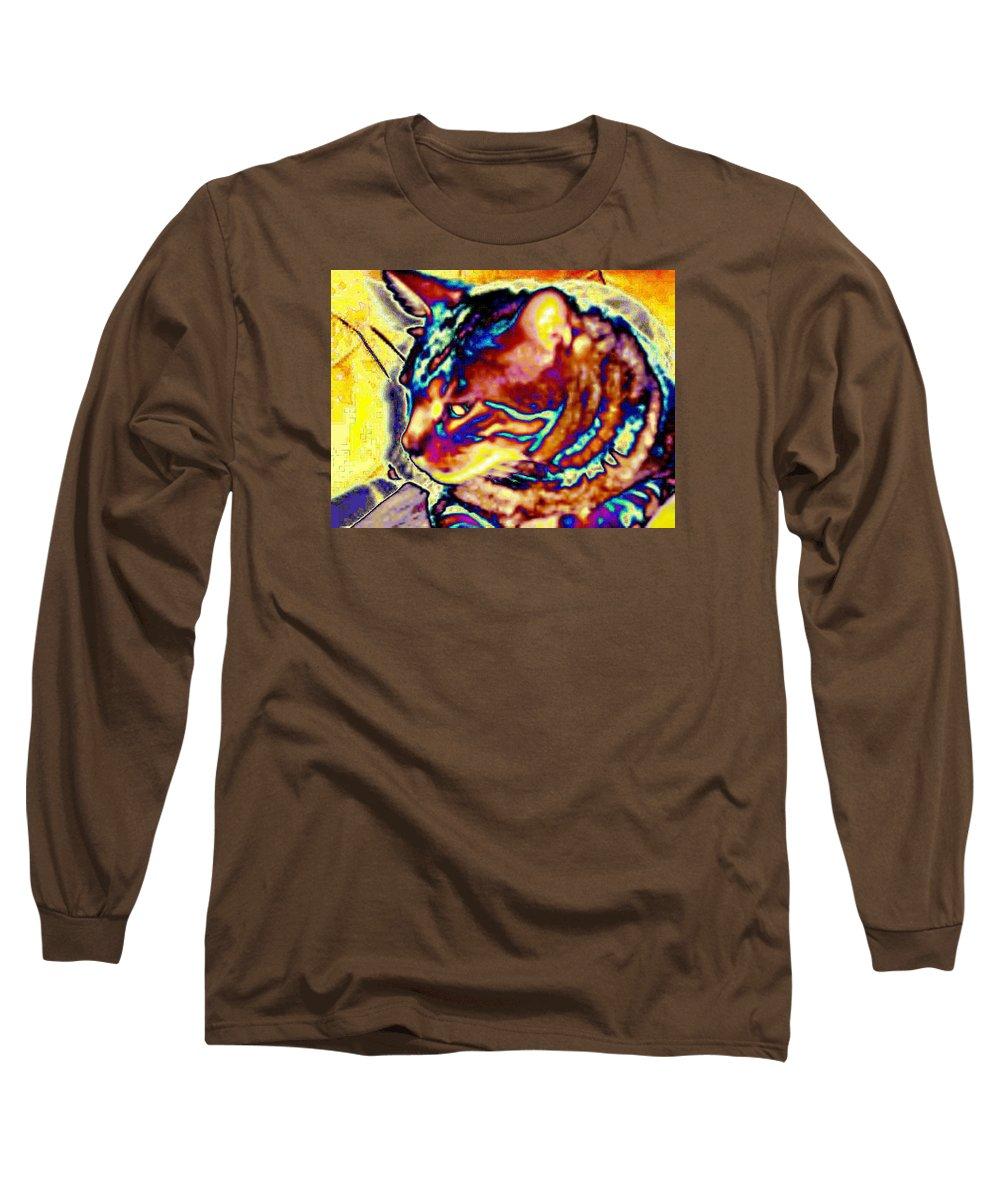 Cat Long Sleeve T-Shirt featuring the photograph Cat Nap by Dawn Johansen