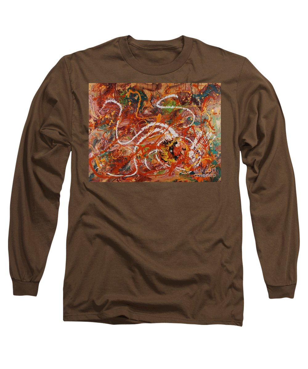 Orange Long Sleeve T-Shirt featuring the painting Celebration II by Nadine Rippelmeyer