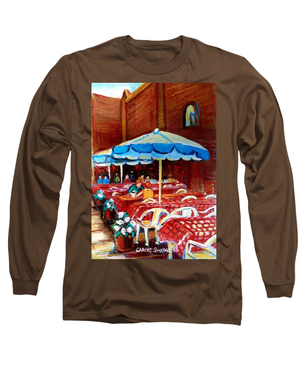 Montreal Long Sleeve T-Shirt featuring the painting Checkered Tablecloths by Carole Spandau