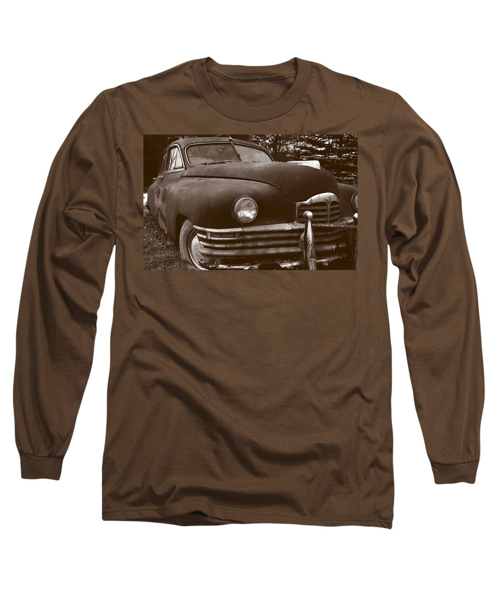 Old Car Long Sleeve T-Shirt featuring the photograph Chocolate Moose by Jean Macaluso