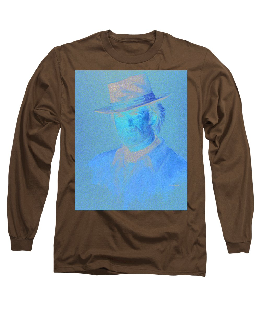 Clint Eastwood Portrait Long Sleeve T-Shirt featuring the pastel Clint Eastwood by Charles Vernon Moran