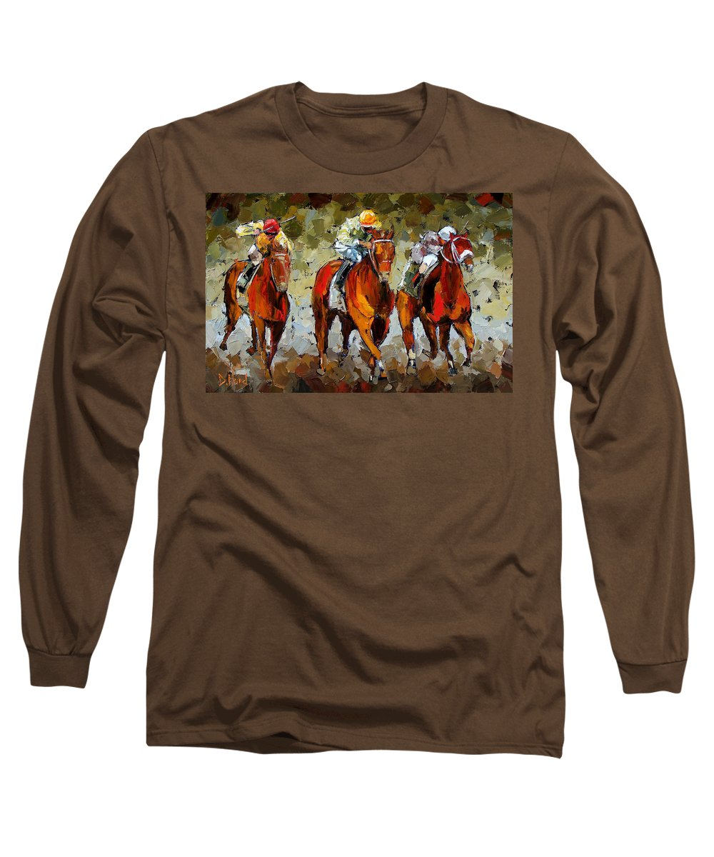 Horses Long Sleeve T-Shirt featuring the painting Close Race by Debra Hurd