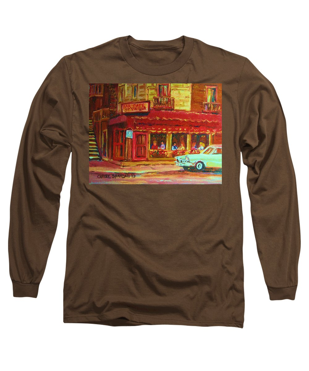 St Long Sleeve T-Shirt featuring the painting Coffee Bar On The Corner by Carole Spandau