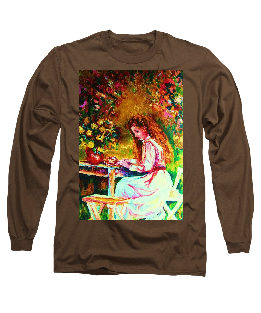 Impressionism Long Sleeve T-Shirt featuring the painting Coffee In The Garden by Carole Spandau