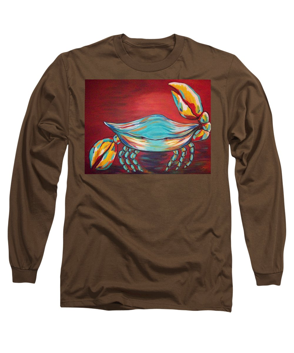 Sealife Long Sleeve T-Shirt featuring the painting Colorful Crab by Angela Miles Varnado