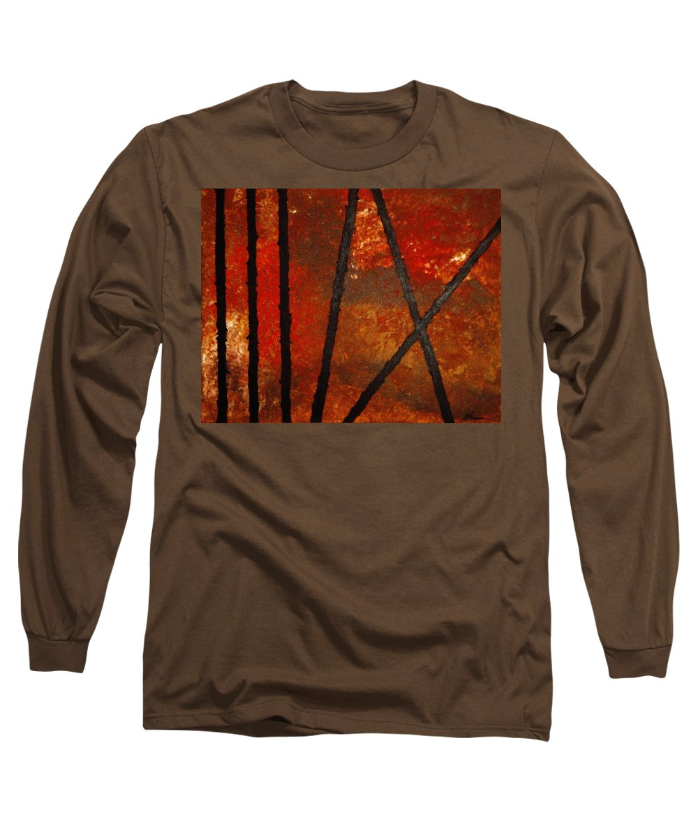Original Abstract Acrylic Long Sleeve T-Shirt featuring the painting Coming Apart by Todd Hoover