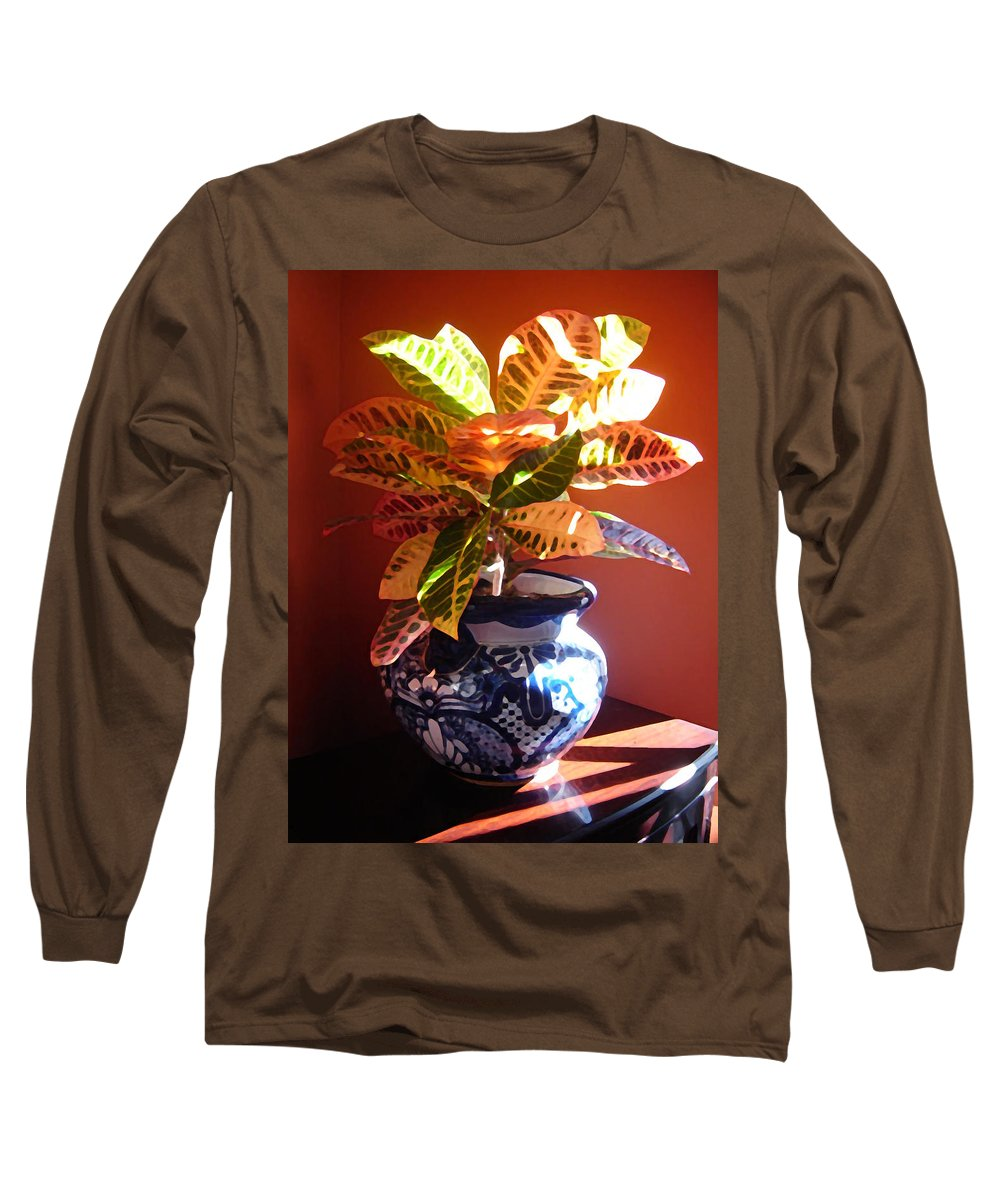 Potted Plant Long Sleeve T-Shirt featuring the photograph Croton In Talavera Pot by Amy Vangsgard