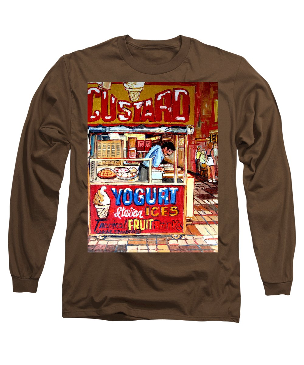 Custard Cart Long Sleeve T-Shirt featuring the painting Custard Cart by Carole Spandau