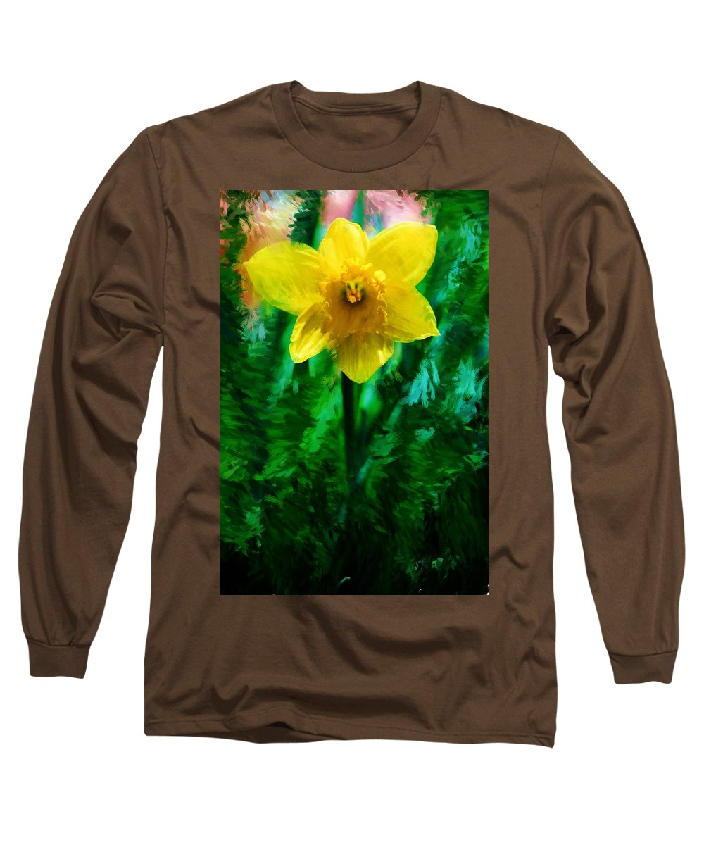 Abstract Long Sleeve T-Shirt featuring the photograph Daffy Dill by David Lane