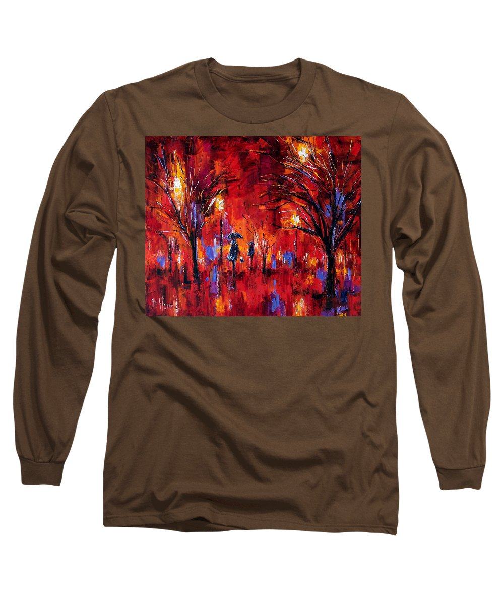 Umbrellas Long Sleeve T-Shirt featuring the painting Deep Red by Debra Hurd