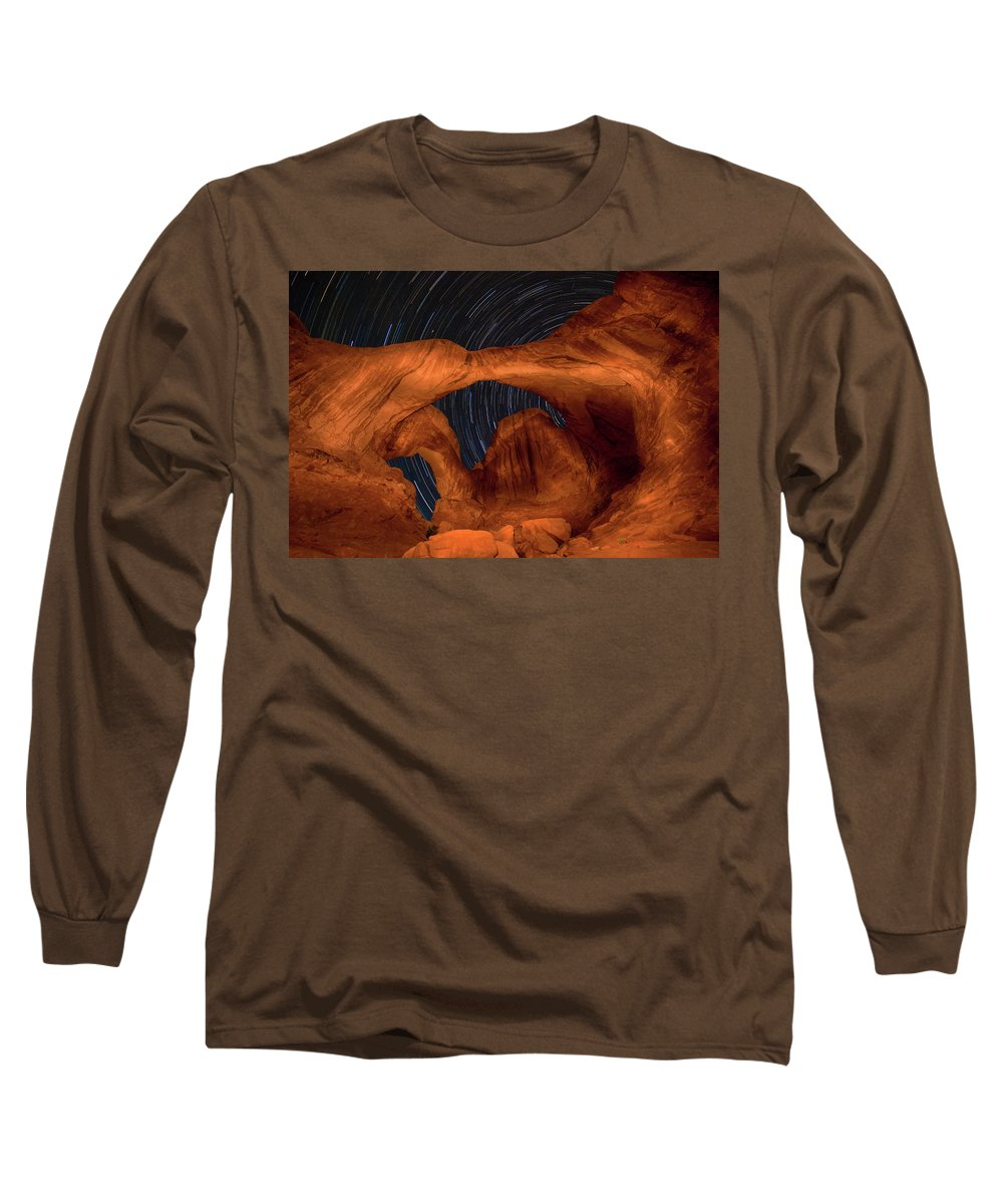 3scape Long Sleeve T-Shirt featuring the photograph Double Arch Star Trails by Adam Romanowicz