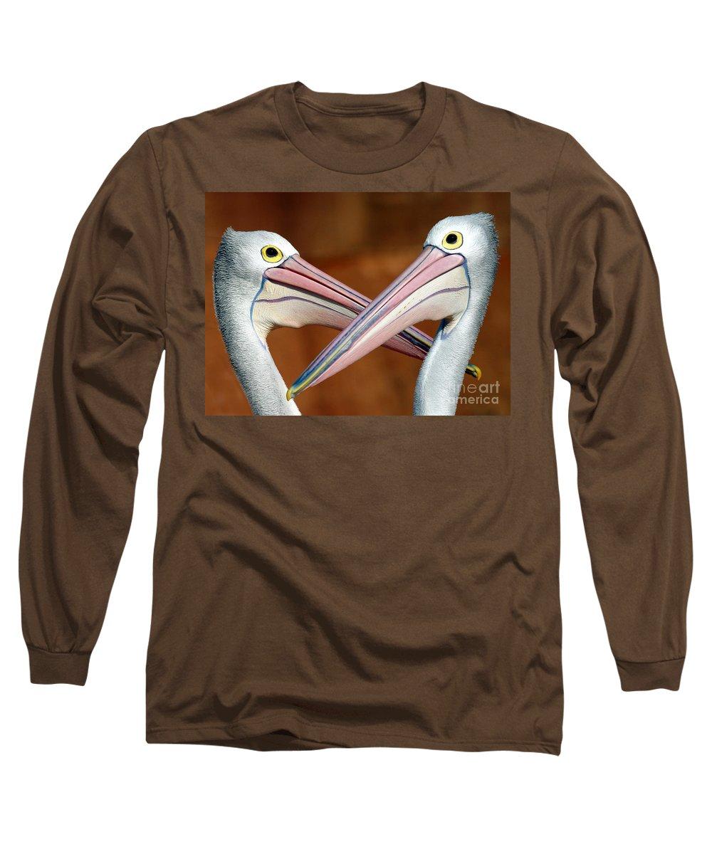Duelling Pelicans Bird Australia Seabird Long Sleeve T-Shirt featuring the photograph Duelling Pelicans by Sheila Smart Fine Art Photography