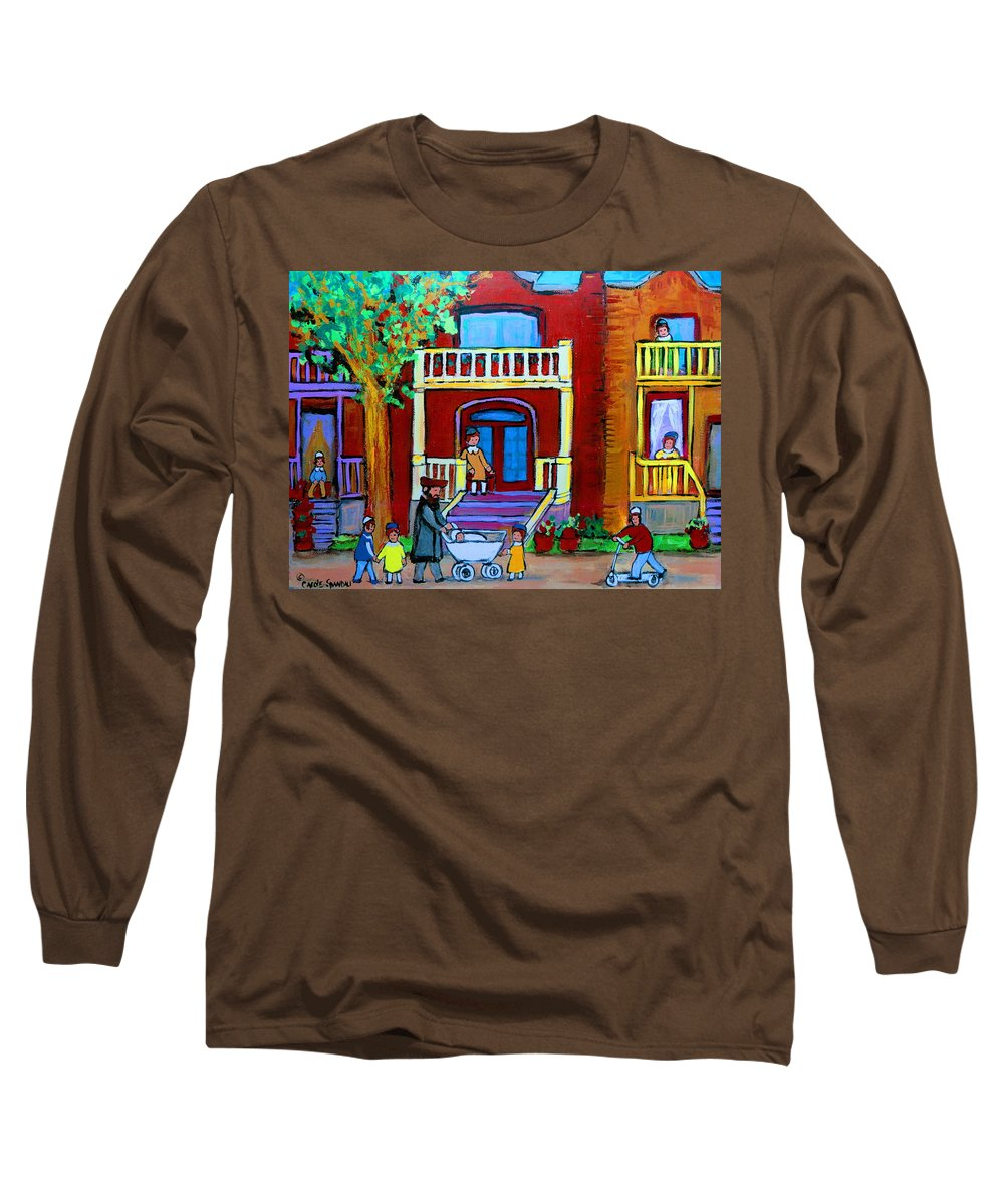 Judaica Long Sleeve T-Shirt featuring the painting Durocher Street Montreal by Carole Spandau
