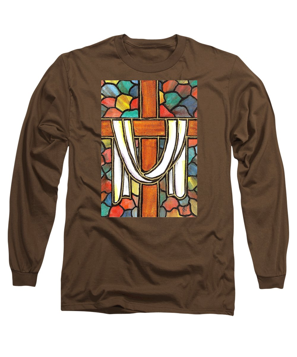 Easter Long Sleeve T-Shirt featuring the painting Easter Cross 6 by Jim Harris
