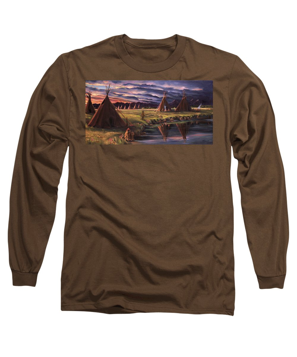 Native American Long Sleeve T-Shirt featuring the painting Encampment At Dusk by Nancy Griswold