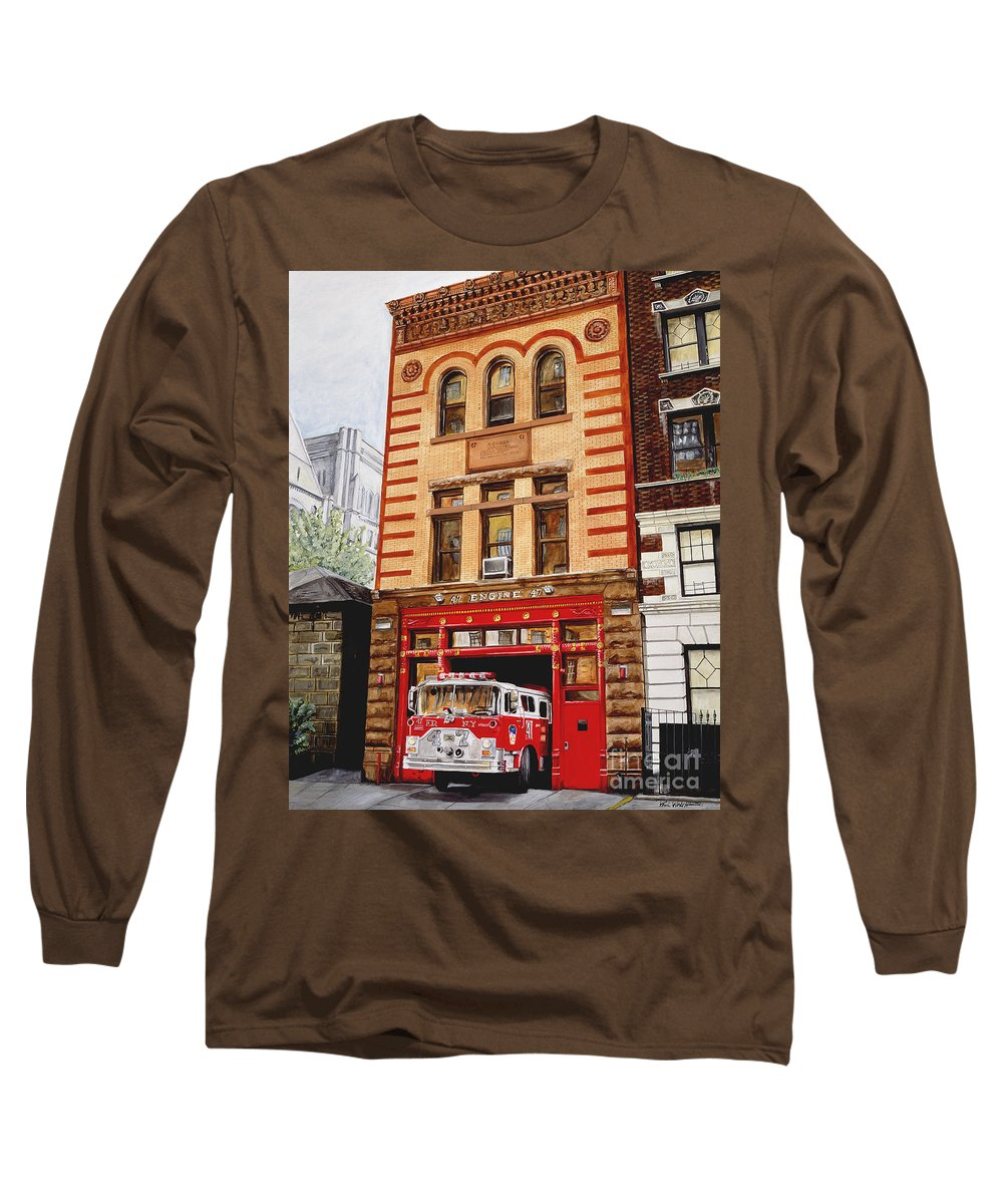 Firehouse Long Sleeve T-Shirt featuring the painting Engine Company 47 by Paul Walsh
