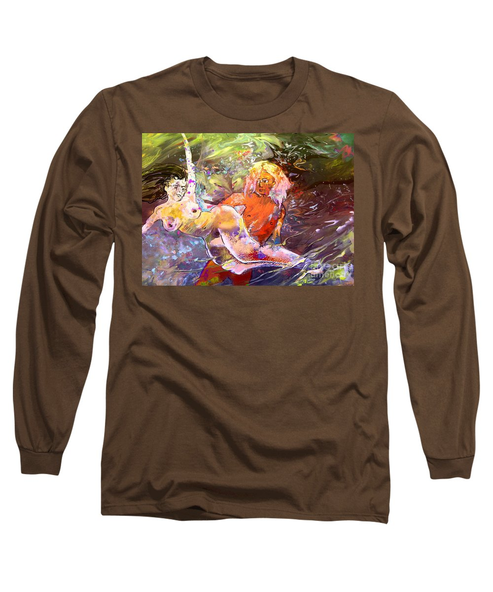 Miki Long Sleeve T-Shirt featuring the painting Erotype 06 1 by Miki De Goodaboom