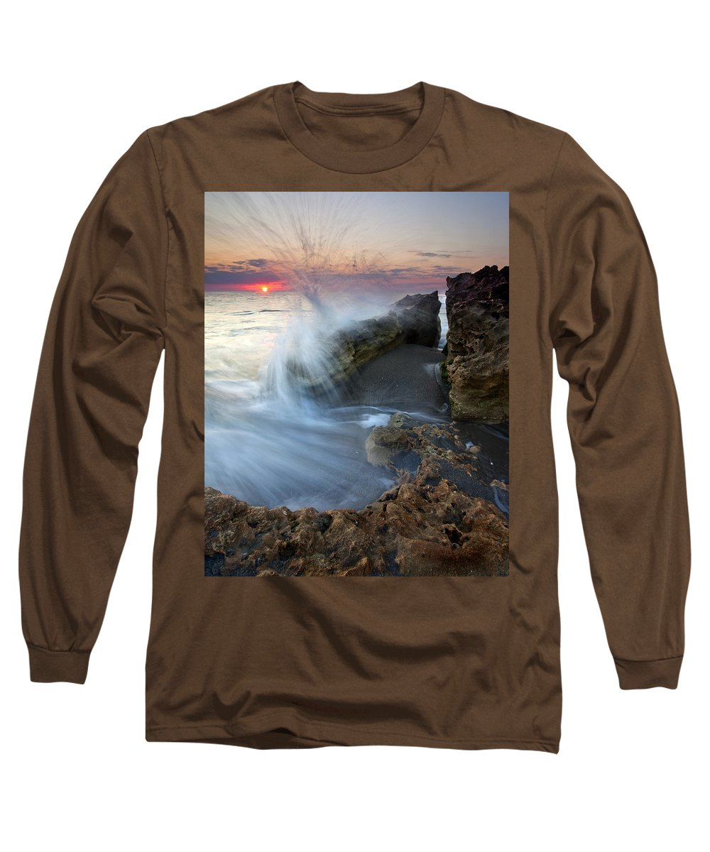 Blowing Rocks Long Sleeve T-Shirt featuring the photograph Eruption At Dawn by Mike Dawson