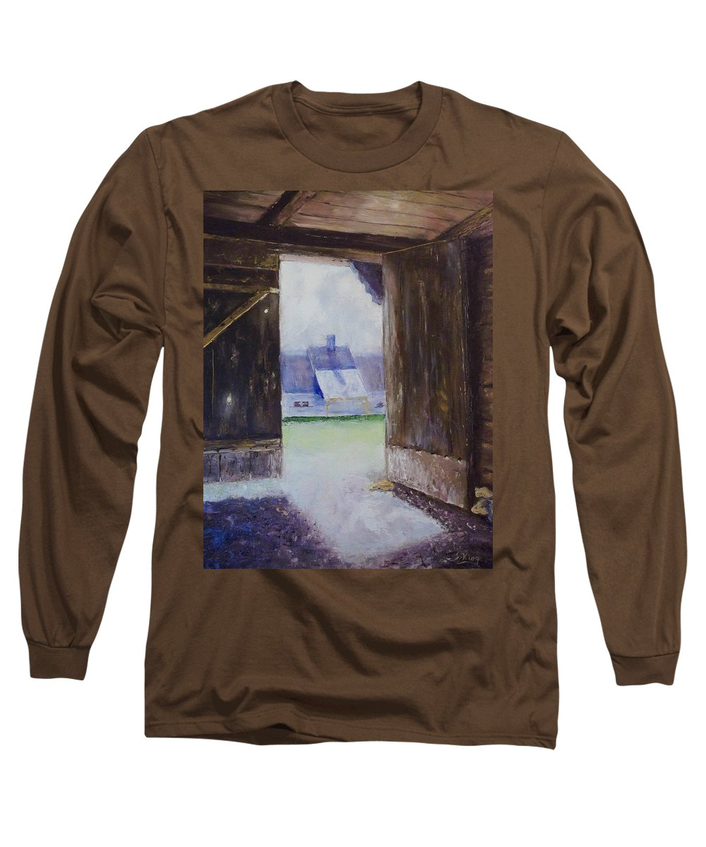 Shed Long Sleeve T-Shirt featuring the painting Escape The Sun by Stephen King