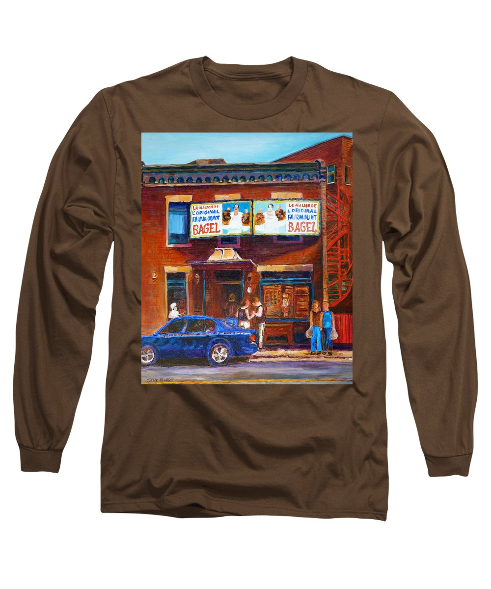 Fairmount Bagel Long Sleeve T-Shirt featuring the painting Fairmount Bagel With Blue Car by Carole Spandau