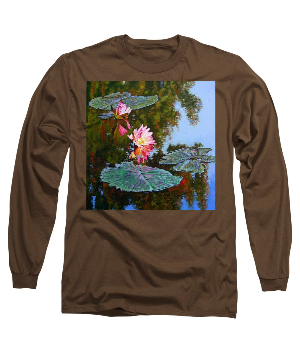 Water Lily Long Sleeve T-Shirt featuring the painting Fall Glow by John Lautermilch