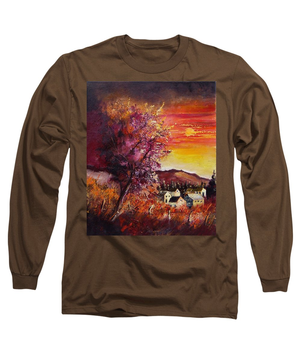 Autumn Long Sleeve T-Shirt featuring the painting Fall In Villers by Pol Ledent