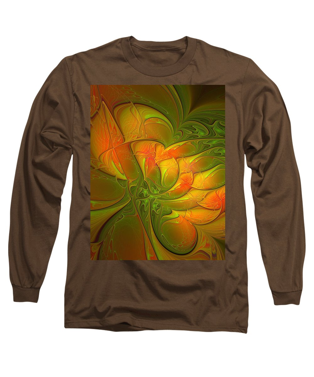 Digital Art Long Sleeve T-Shirt featuring the digital art Fiery Glow by Amanda Moore