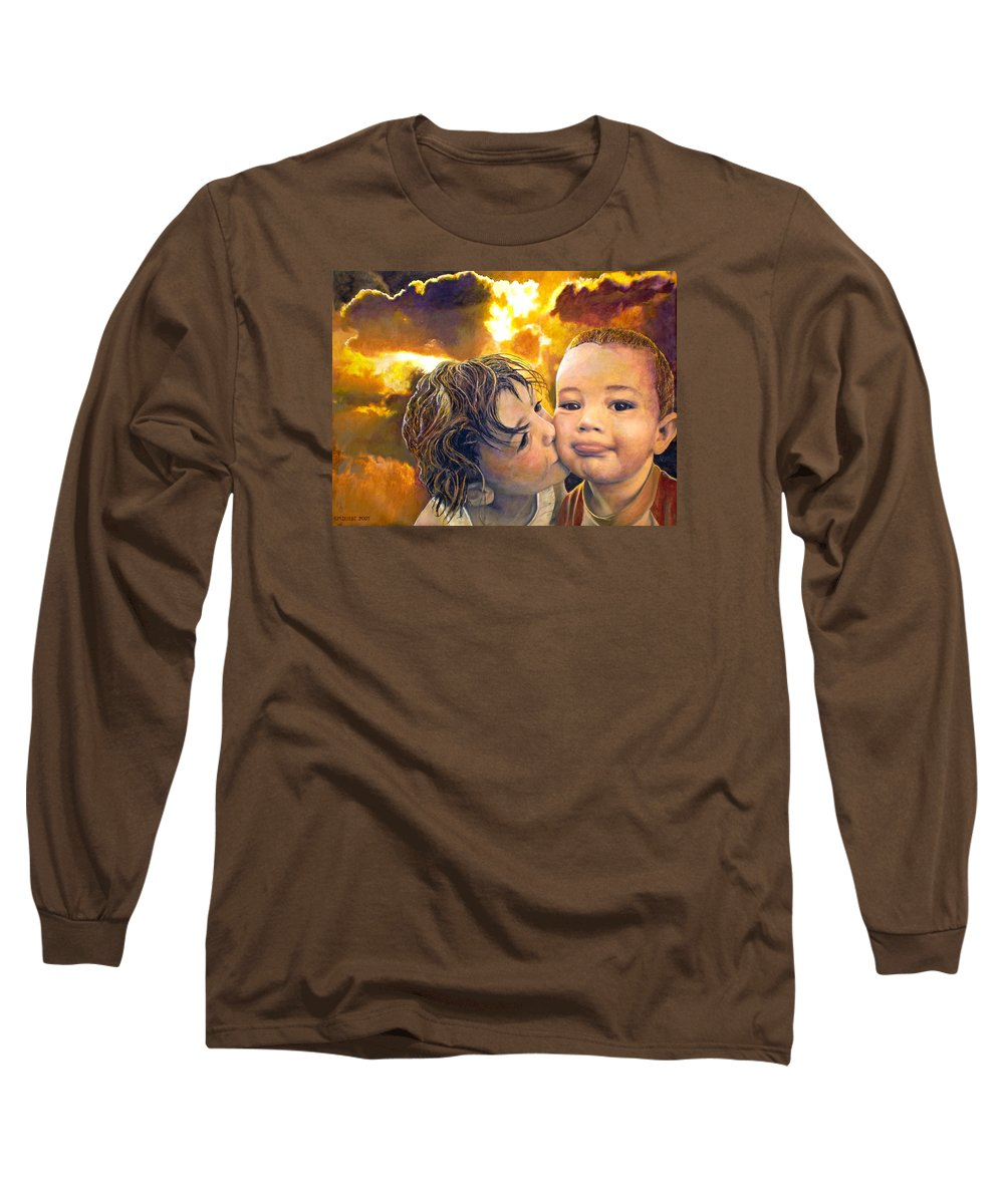 Children Long Sleeve T-Shirt featuring the painting First Kiss by Michael Durst