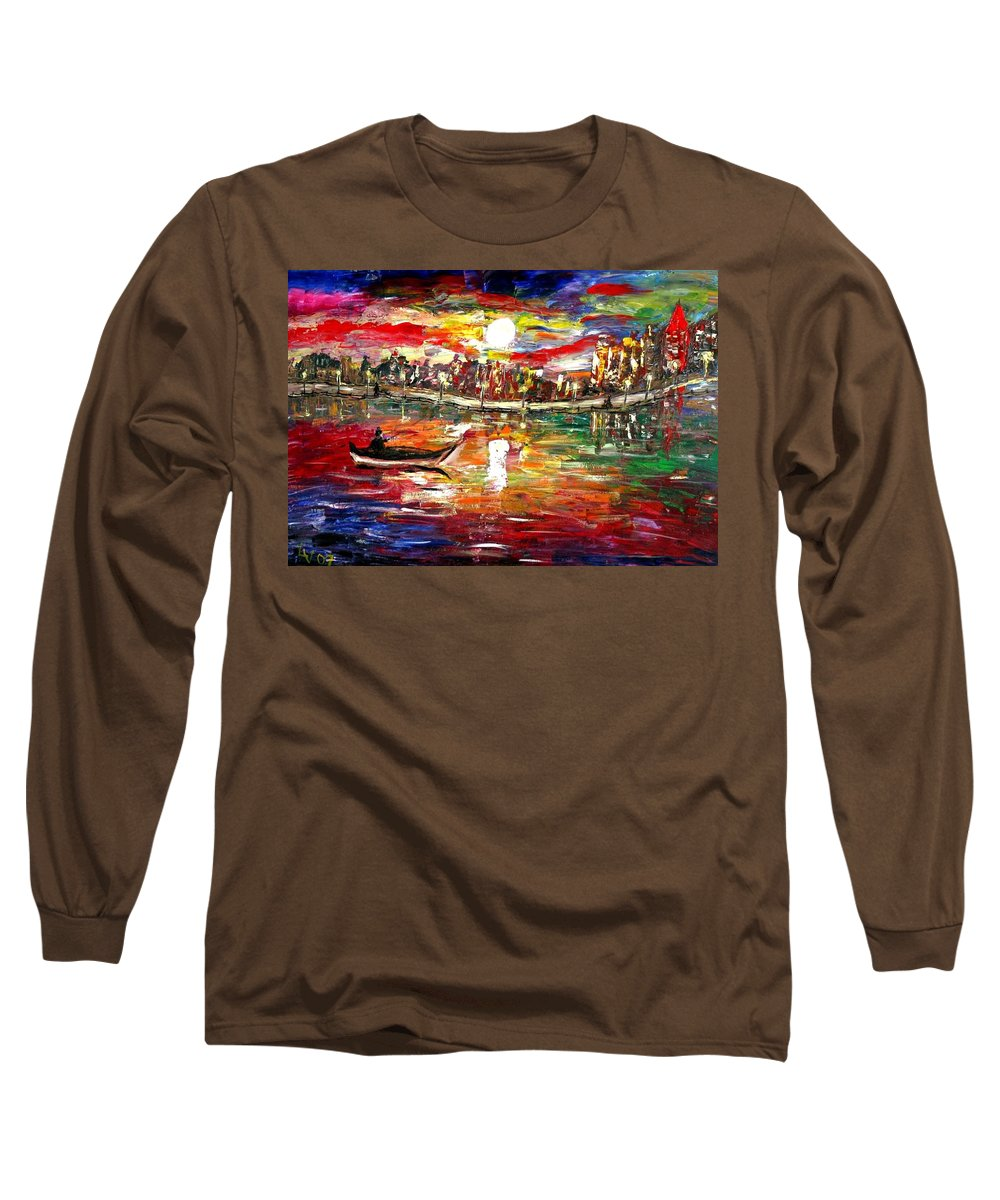 Art Long Sleeve T-Shirt featuring the painting Fishing In The Moonlight by Luiza Vizoli