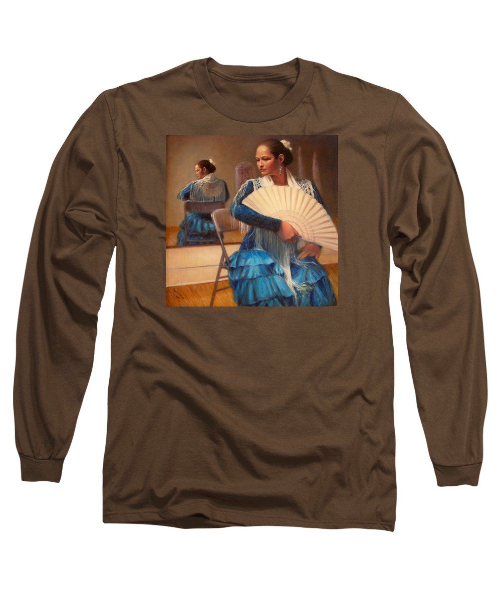 Realism Long Sleeve T-Shirt featuring the painting Flamenco 1 by Donelli DiMaria