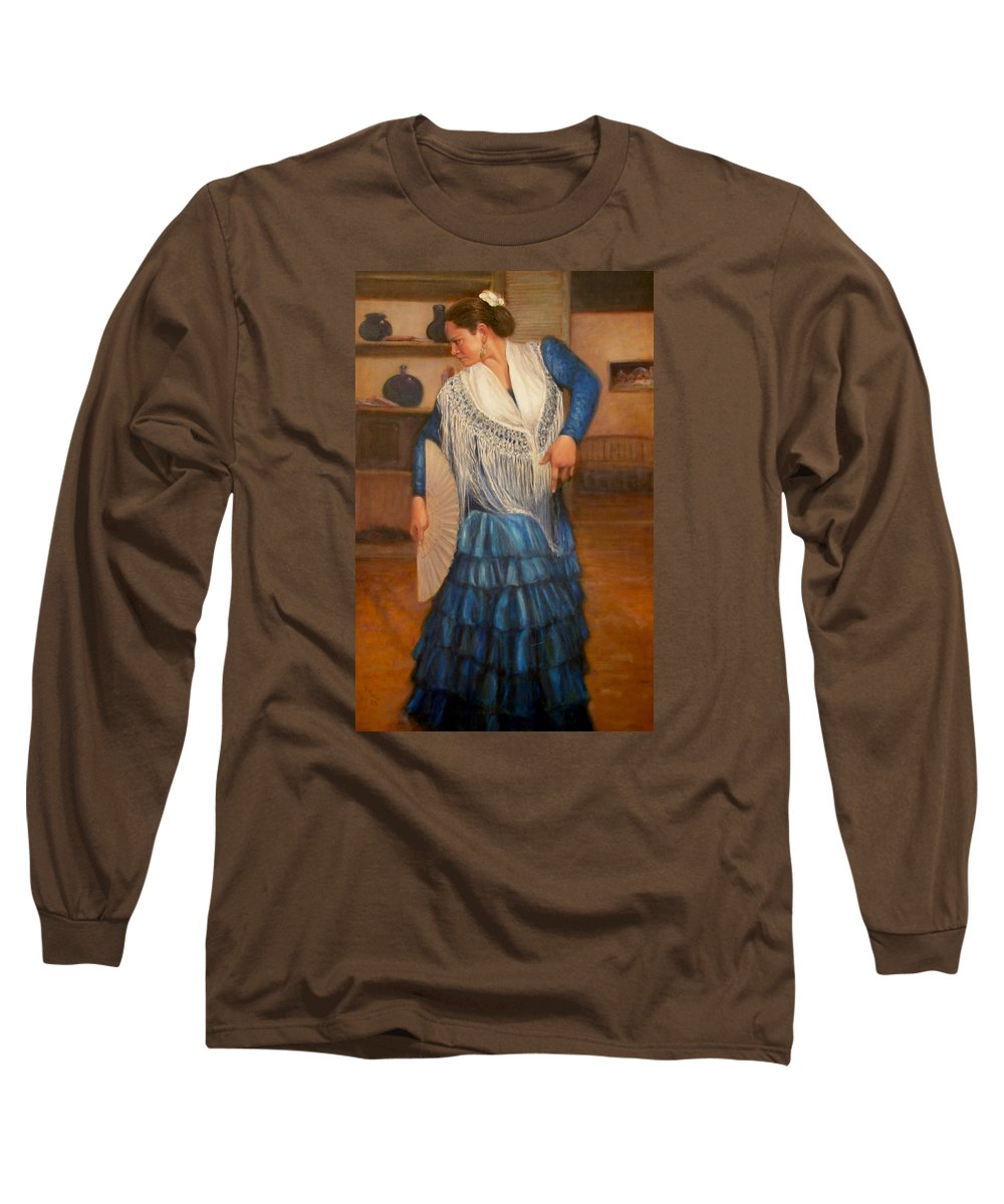 Realism Long Sleeve T-Shirt featuring the painting Flamenco 2 by Donelli DiMaria