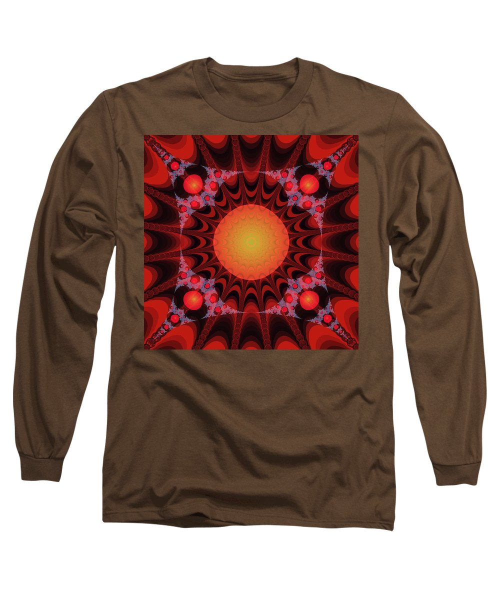 Fractal Long Sleeve T-Shirt featuring the digital art Flaming Sol by Frederic Durville