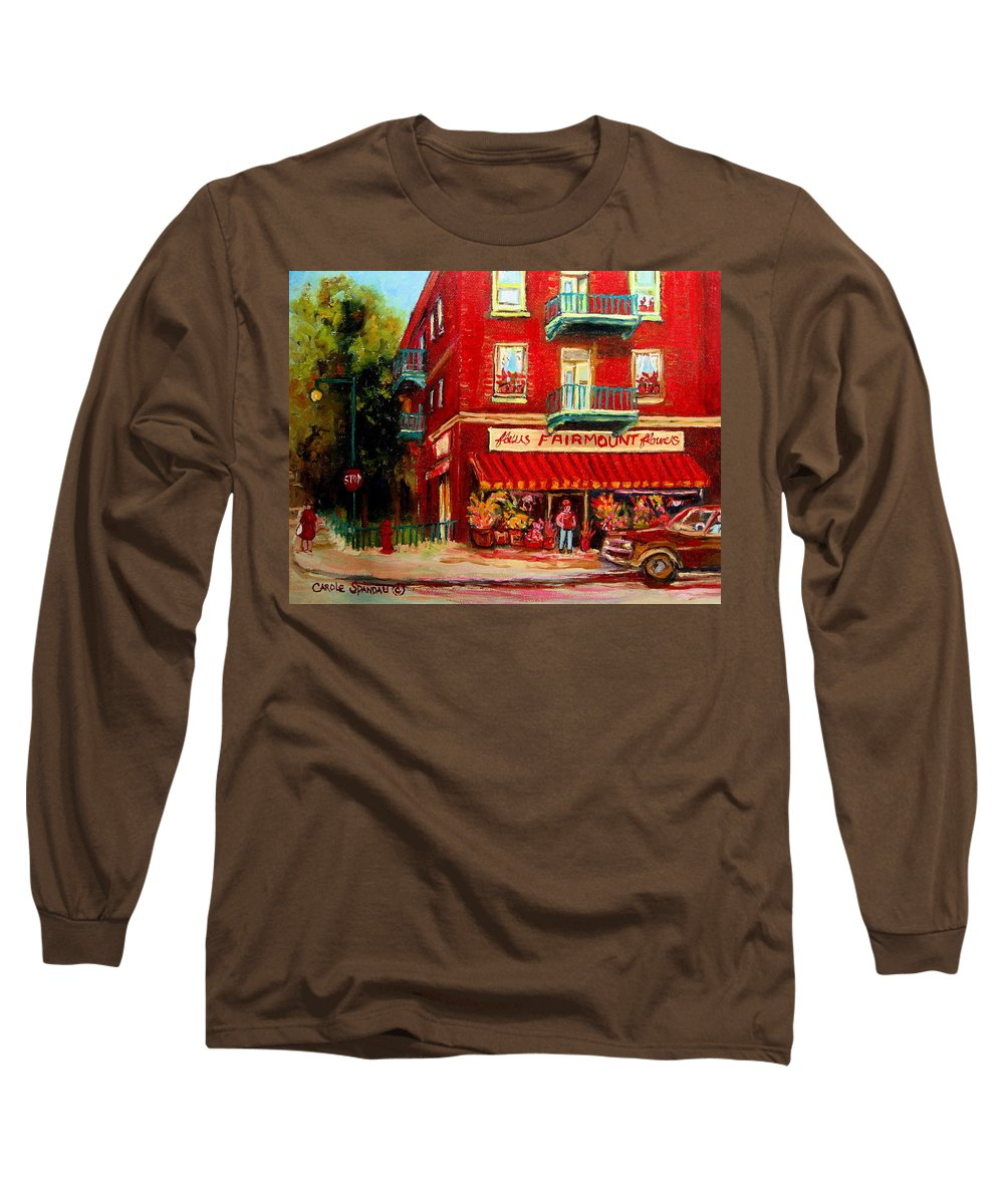 Fairmount Street Long Sleeve T-Shirt featuring the painting Flower Shop On The Corner by Carole Spandau