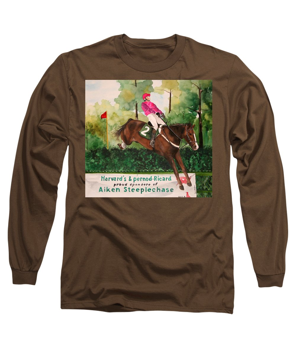 Horse Long Sleeve T-Shirt featuring the painting Flying High by Jean Blackmer