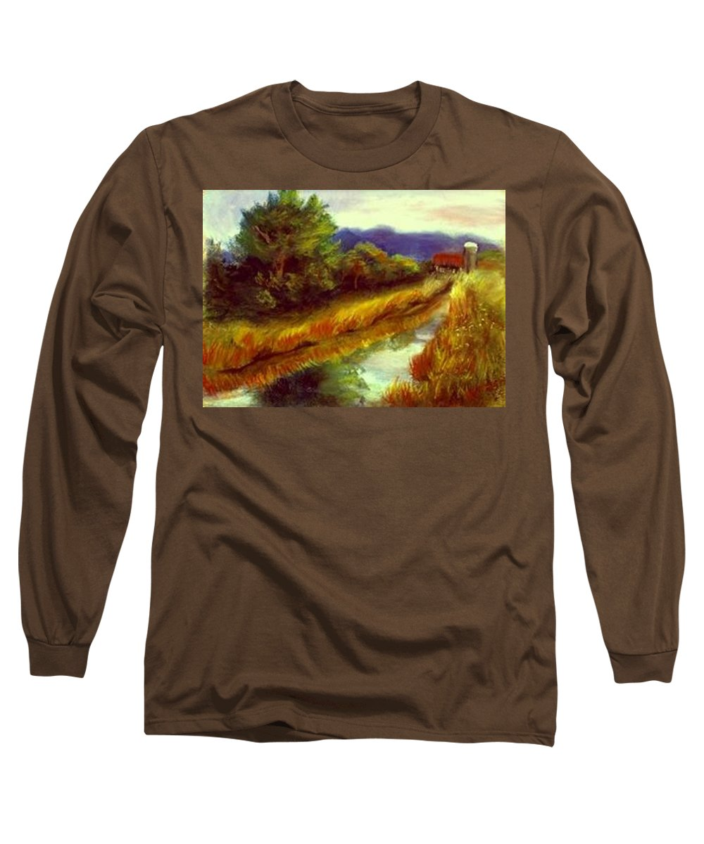 Landscape Long Sleeve T-Shirt featuring the painting For A Thirsty Land by Gail Kirtz