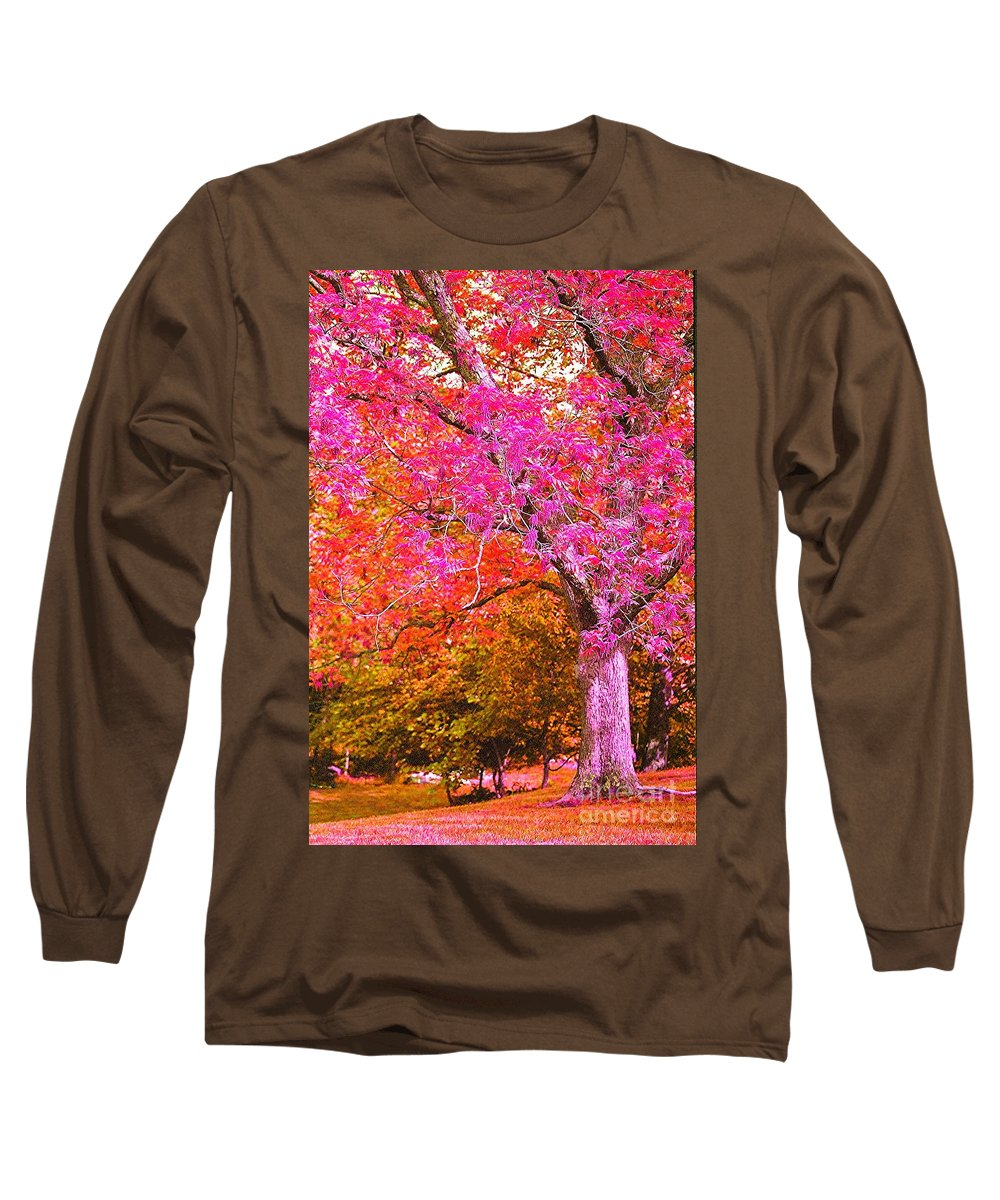 Fuschia Long Sleeve T-Shirt featuring the photograph Fuschia Tree by Nadine Rippelmeyer