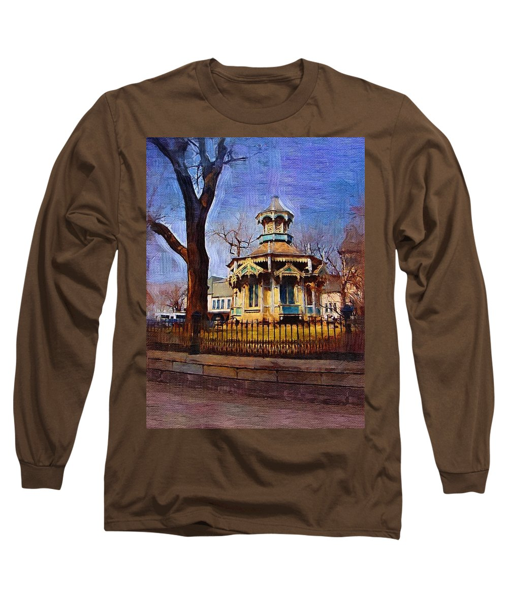 Architecture Long Sleeve T-Shirt featuring the digital art Gazebo And Tree by Anita Burgermeister