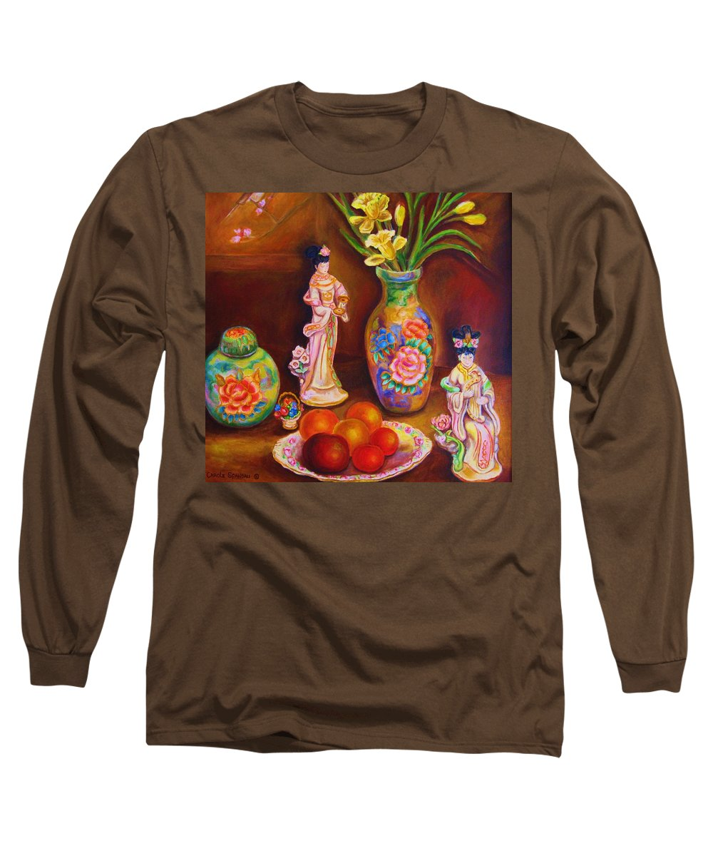 Geishas Long Sleeve T-Shirt featuring the painting Geisha Dolls by Carole Spandau