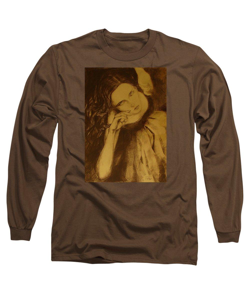 Art Drawings Long Sleeve T-Shirt featuring the drawing Girl Dancing by Cristina Rettegi