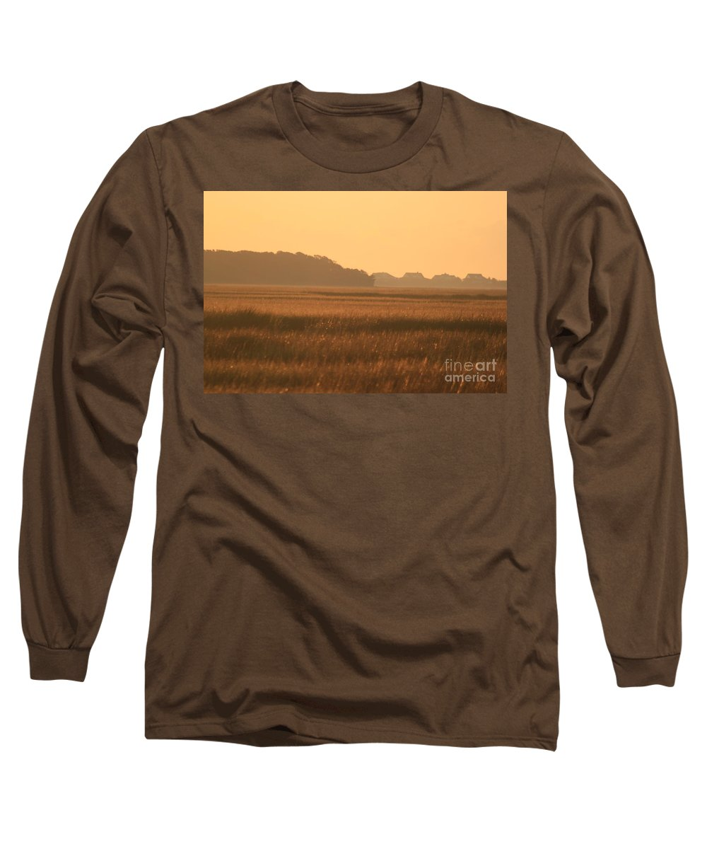 Marsh Long Sleeve T-Shirt featuring the photograph Golden Marshes by Nadine Rippelmeyer