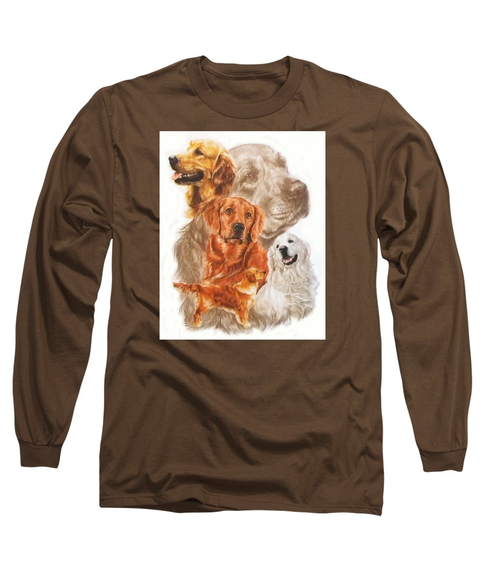 Dog Long Sleeve T-Shirt featuring the mixed media Golden Retriever W/ghost by Barbara Keith