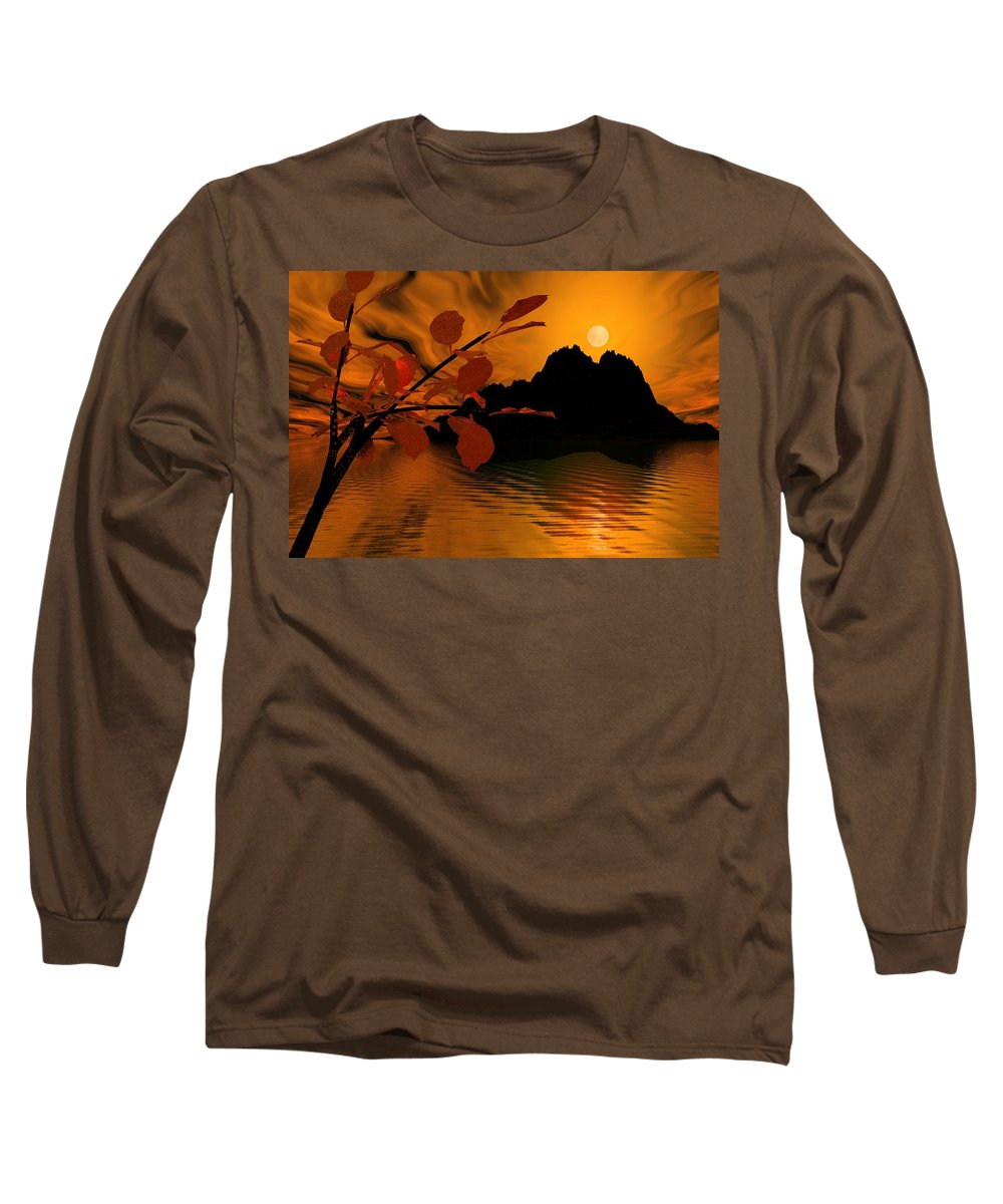 Landscape Long Sleeve T-Shirt featuring the digital art Golden Slumber Fills My Dreams. by David Lane