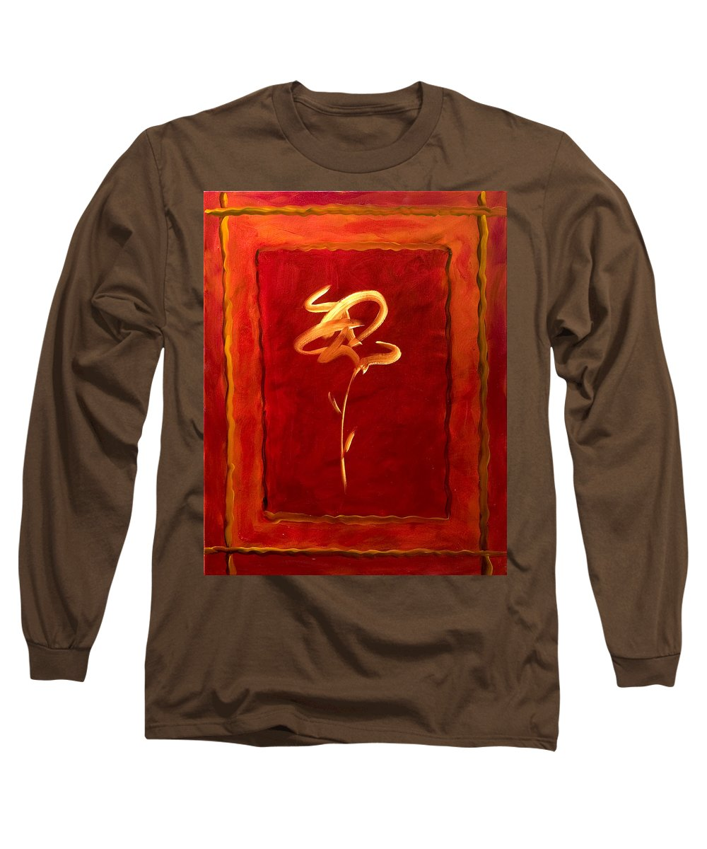 Abstract Flower Long Sleeve T-Shirt featuring the painting Gratitude by Shannon Grissom