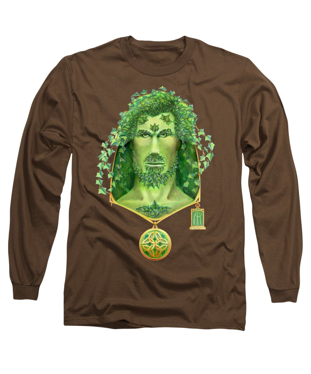 Green Man Long Sleeve T-Shirt featuring the painting Ivy Green Man by Melissa A Benson