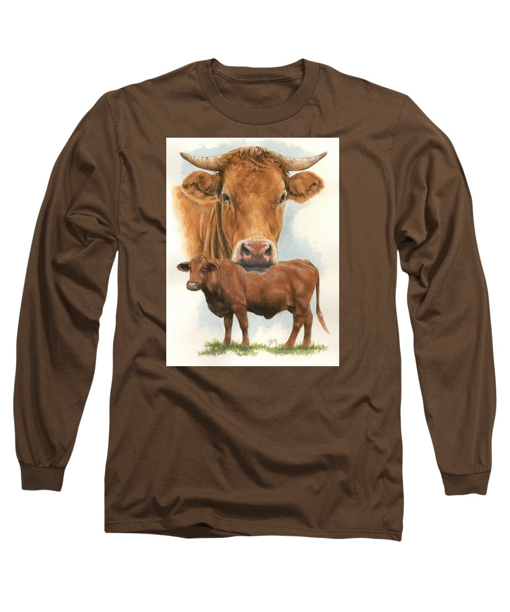 Cow Long Sleeve T-Shirt featuring the mixed media Guernsey by Barbara Keith