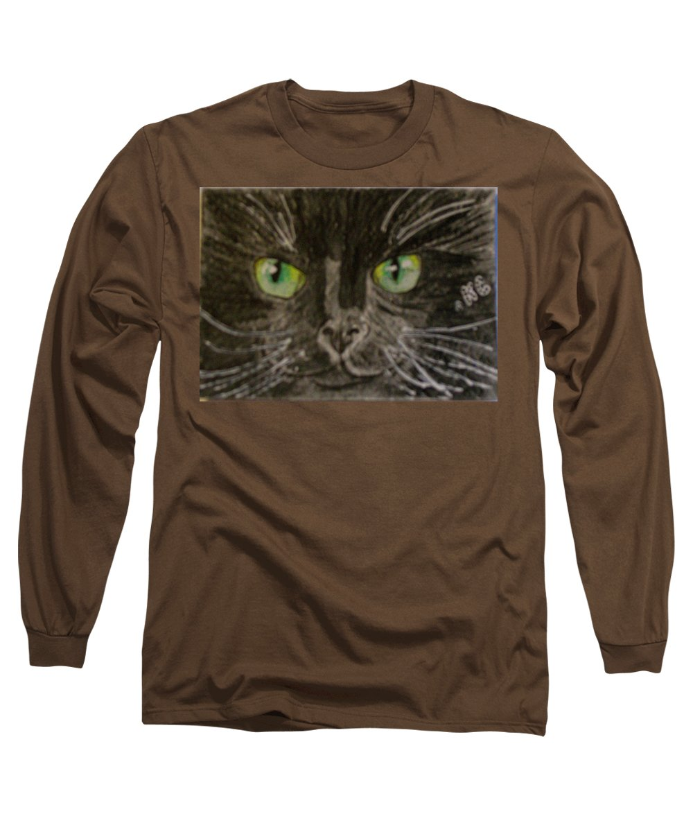 Halloween Long Sleeve T-Shirt featuring the painting Halloween Black Cat I by Kathy Marrs Chandler