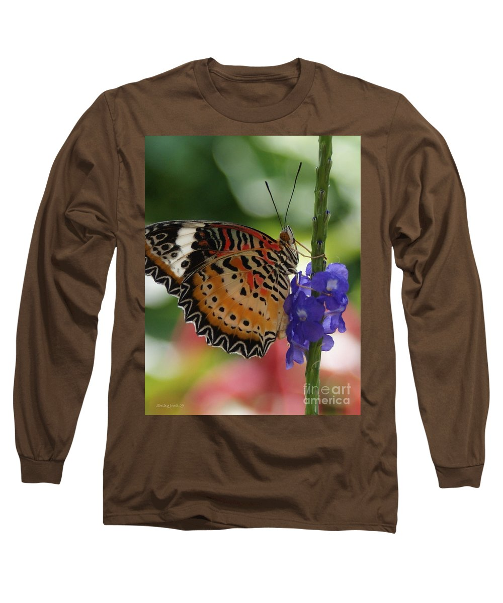 Butterfly Long Sleeve T-Shirt featuring the photograph Hanging On by Shelley Jones